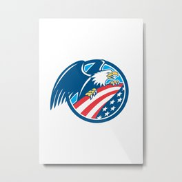 American Bald Eagle Clutching USA Flag Circle Retro Metal Print