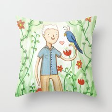 Sir David Attenborough & a Parrot Throw Pillow