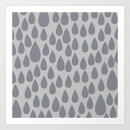 Grey drops Art Print