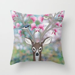 white tailed deer, black throated blue warblers, & magnolia blossoms Throw Pillow