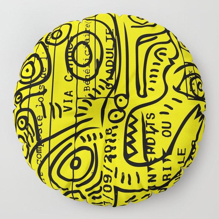 Yellow Street Art Graffiti Train Ticket Floor Pillow