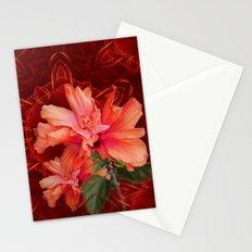 Orange hibiscus and vibrant kaleidoscope Stationery Cards