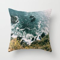 big sur Throw Pillows featuring Kirk Creek, Big Sur by GBret