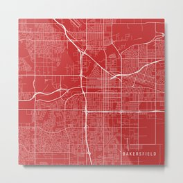 Bakersfield Map, USA - Red Metal Print