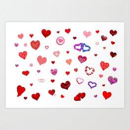 Heart for Valentines Seamless Pattern Art Print