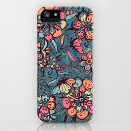Sweet Spring Floral - melon pink, butterscotch & teal iPhone Case