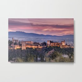 The Alhambra Palace. Granada. Spain. At Sunset. Winter Metal Print