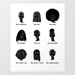 Black Hair Art Print
