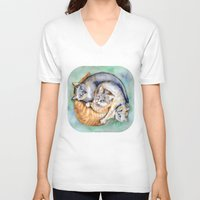 cuddle V-neck T-shirts featuring Cuddle Cats by Lucy's Visual Fling
