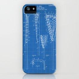 Lacrosse Stick Patent - Lacrosse Player Art - Blueprint iPhone Case