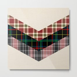 Ivory black pink marsala red geometrical chevron plaid pattern Metal Print
