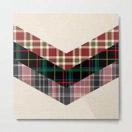 Ivory black pink marsala red geometrical chevron plaid pattern Metal Print