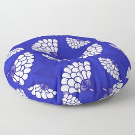 African Floral Motif on Royal Blue Floor Pillow