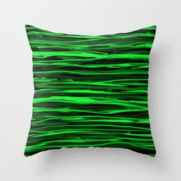 Lime Green and Black Stripes Throw Pillow