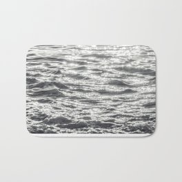 Glittering Early Sunlight Bouncing Off Gentle Waves in Monochrome Black and White Bath Mat