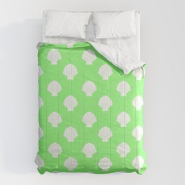 Seashells (White & Light Green Pattern) Comforters