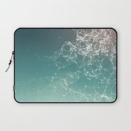 Fresh summer abstract background. Connecting dots, lens flare Laptop Sleeve