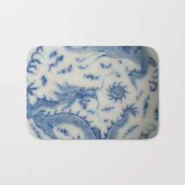 Damask vintage Monaco blue white girly ginger jar floral antique chinese dragon chinoiserie china Bath Mat