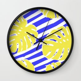 Monstera Leaf - Matisse Inspired Tropical Collage Pattern Wall Clock