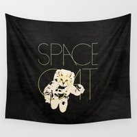space cat Wall Tapestries featuring Space Cat by Koning