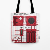 rocky horror Tote Bags featuring Rocky Horror Control Panel by Shawn Hall Design