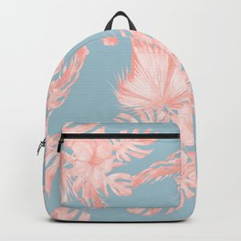 Tropical Palm Leaves Hibiscus Coral Blue Backpack
