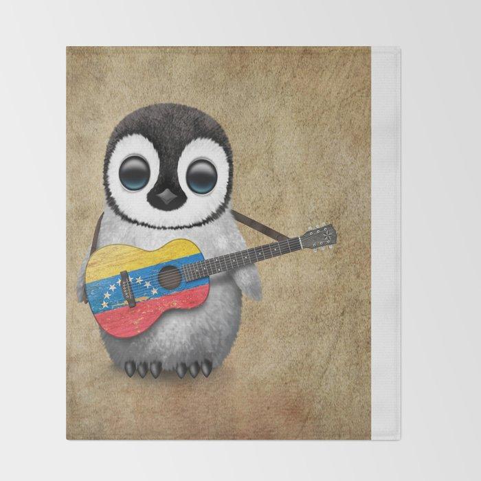 Baby Penguin Playing Venezuelan Flag Guitar Throw Blanket