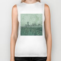 houston Biker Tanks featuring houston city skyline by Bekim ART