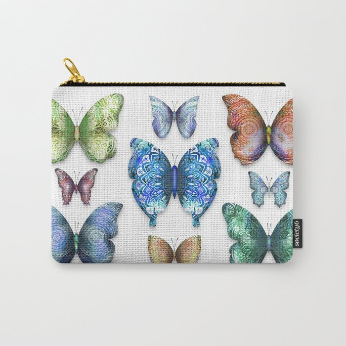 Butterfly Illustrations 1 (of 11) // Beautiful Mandala Detailed Wings Design // Lime Green Blue Gold Carry-All Pouch