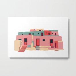 Taos Pueblo Adobe Architecture Print - Pink & Green Metal Print