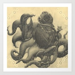 Scuba Diver with Crab Hands Art Print