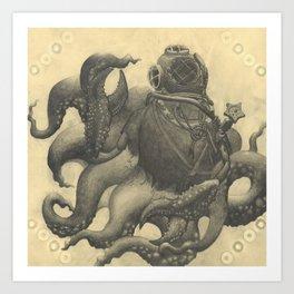 Scuba Diver with Crab Hands Art Print