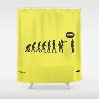 evolution Shower Curtains featuring WTF? Evolution! by Estudio Minga | www.estudiominga.com