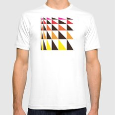 Red Yellow Triangle Pattern Mens Fitted Tee MEDIUM White