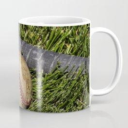 Baseball and Bat on Grass 1 Coffee Mug