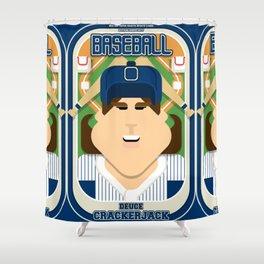 Baseball Blue Pinstripes - Deuce Crackerjack - June version Shower Curtain