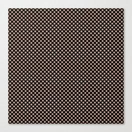 Black and Maple Sugar Polka Dots Canvas Print