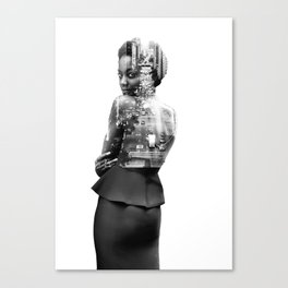 Double Exposure of woman and New York Canvas Print