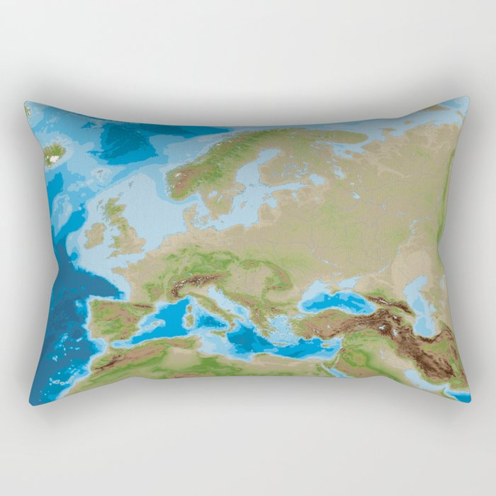 Topographic map of Europe Rectangular Pillow