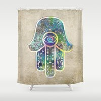 hamsa Shower Curtains featuring Hamsa by Klara Acel