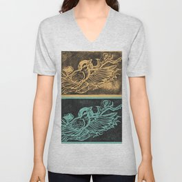 Midnight Raven Turquoise and Gold Unisex V-Neck