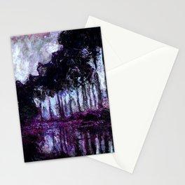 Monet : Poplars Purple Violet Indigo Stationery Cards