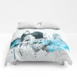 Charlotte Monochrome Blue Skyline Comforters