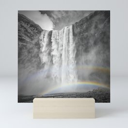 ICELAND Skogafoss Double Rainbow Mini Art Print