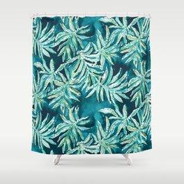 SANTA CRUZIN' Navy Tropical Palm Leaves Shower Curtain