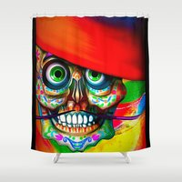 dia de los muertos Shower Curtains featuring Dia De Los Muertos  by Georgiart