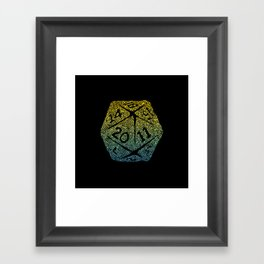 d20 dice pattern - yellow and blue gradient over black - icosahedron Framed Art Print