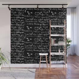 White French Script on Black background with White birds Wall Mural