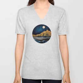 Midnight Desert Moon Unisex V-Neck