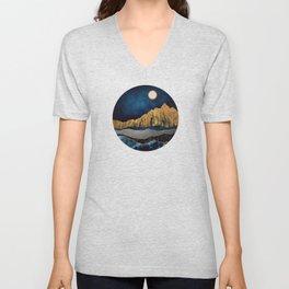 Midnight Desert Moon Unisex V-Neck